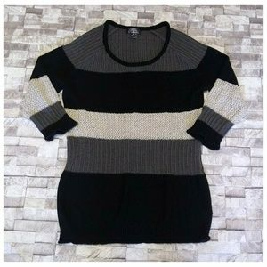 Striped Oh Baby Maternity Sweater with 3/4 Sleeves